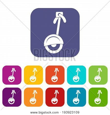 Unicycle icons set vector illustration in flat style In colors red, blue, green and other