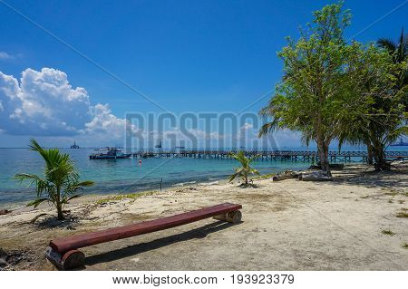 Tropical beach background and wonderful nature landscape with sandy beach with beautiful coral in Rusukan Besar island,Labuan,Malaysia