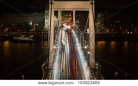 Bridge In Budapest In The Rush Hour
