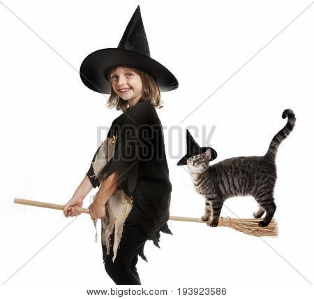 little hallowen witch flying on broom with her cat