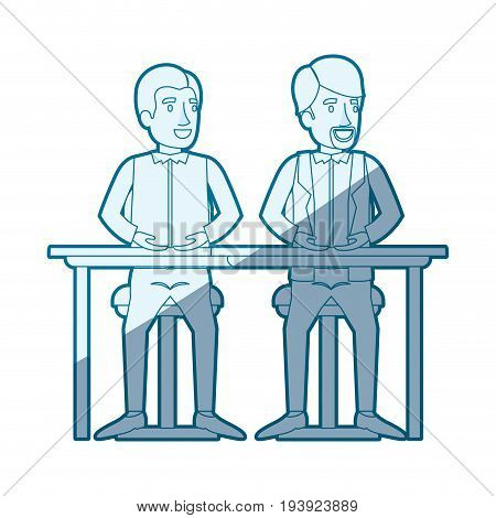 blue shading silhouette with men sitting in desk one with casual clothes and the other with formal clothes and van dyke beard vector illustration