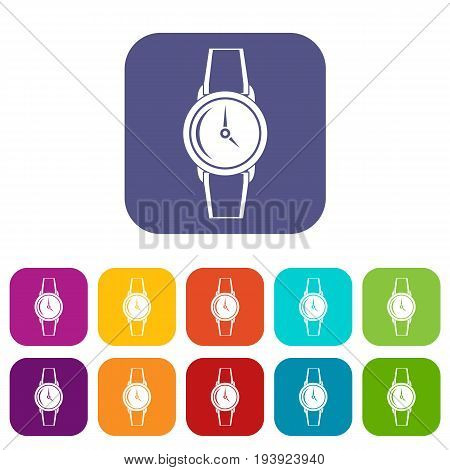 Wristwatch icons set vector illustration in flat style In colors red, blue, green and other