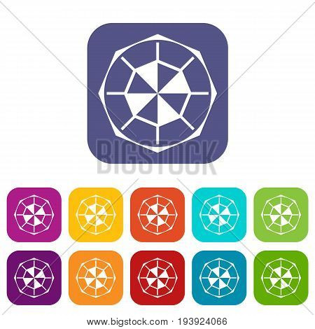 Diamond gemstone icons set vector illustration in flat style In colors red, blue, green and other