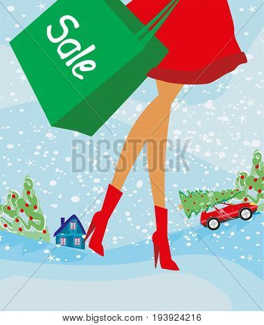 Christmas shopping - winter sale card , vector illustration