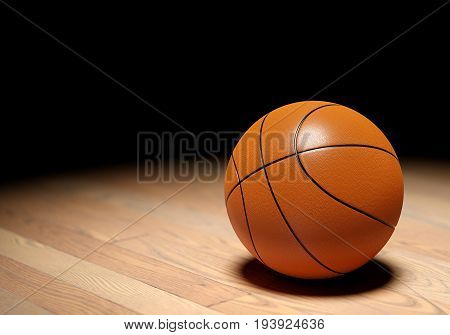 Basketball ball on parquet floor black background. 3D illustration