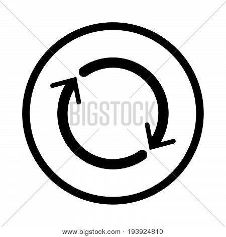 Reset icon iconic symbol inside a circle on white background. Vector Iconic Design..