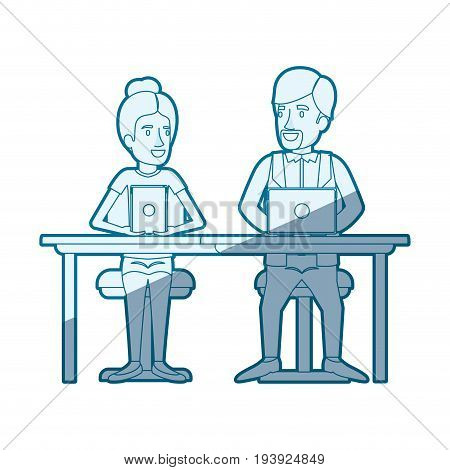 blue shading silhouette of teamwork of woman and man sitting in desk with tech devices and her with collected hair and him in casual clothes with van dyke beard vector illustration