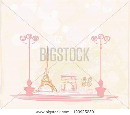 Vintage retro Eiffel tower card , vector illustration