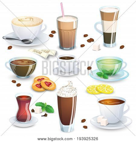 Set of non-alcoholic beverages - tea herbal tea hot chocolate latte mate coffee and small additions for hot drinks. Vector illustration isolated