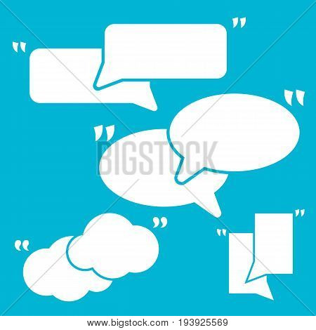 Set Of Quotation Mark Speech Bubbles. White quote sign icons isolated on blue.