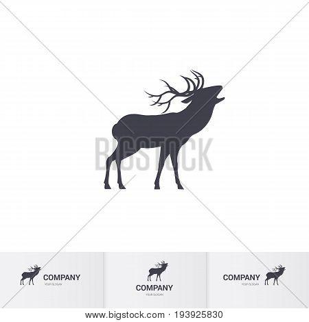 Simple Roaring Horned Deer Silhouette for Mascot Logo Template