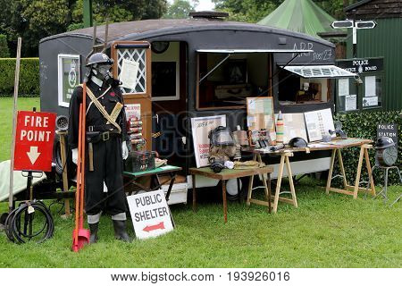 Beaulieu, Hampshire, Uk - May 29 2017: Display Of Ww2 Air Raid Patrol (arp) Memorabilia, Including G