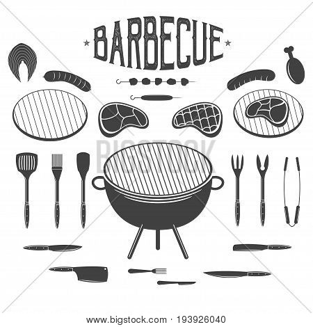 Bbq. Barbecue And Grill Design Elements. Equipment, Meat, Chicken, Sausage, Kebab. Icons, Labels For