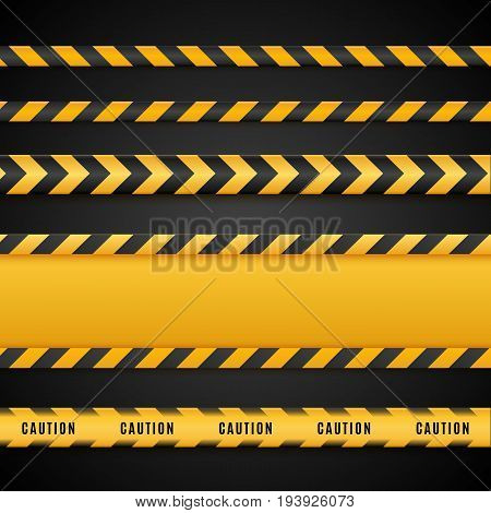 Yellow and black danger tapes. Caution lines isolated on white. Vector illustration