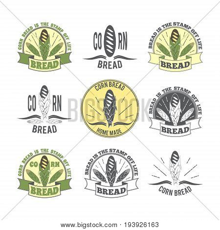 Set of logos. Logos with the image of corn bread and corn cobs. Vector illustration on bread baking bread corn restaurants and menus and baking.
