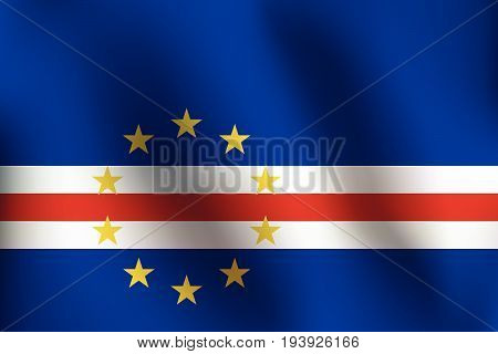 Flag of Cape Verde with a little Waving Shading & Flag Colors separated layers - Vector Illustration