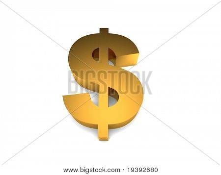 3d golden dollar sign