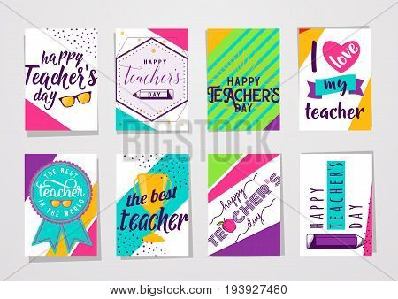 Vector illustration of color happy teachers day lettering typography card set. Greeting design for poster, banner with eyeglasses, cup, bow, medal, pencil, apple in hipster motion dynamic style