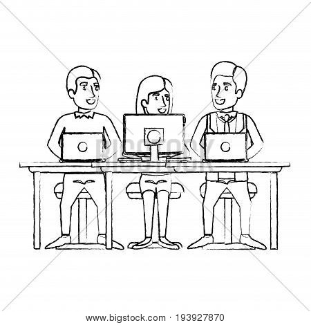 monochrome blurred silhouette of eamwork of woman and men sitting in desk with tech devices vector illustration