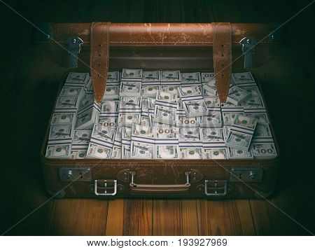 Vintage suitcase full of money. Business emigration concept background. 3d illustration