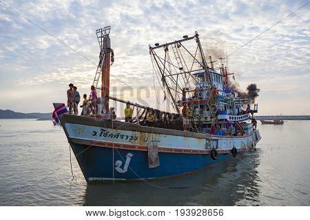 PRACHUAP KHIRI KHAN THAILAND - MARCH 292017 : thai fishery boat approaching to klong wan port prachuap khiri khan in longest coastal province in southern of thailand