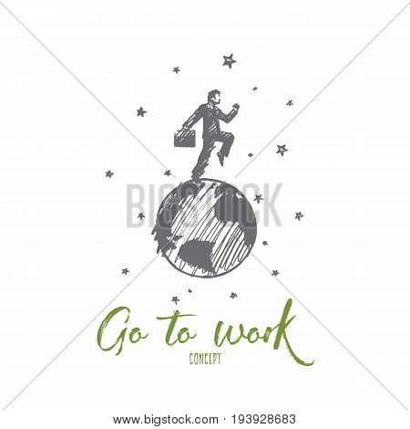 Go to work concept. Hand drawn handsome man going to work. Businessman with a briefcase isolated vector illustration.