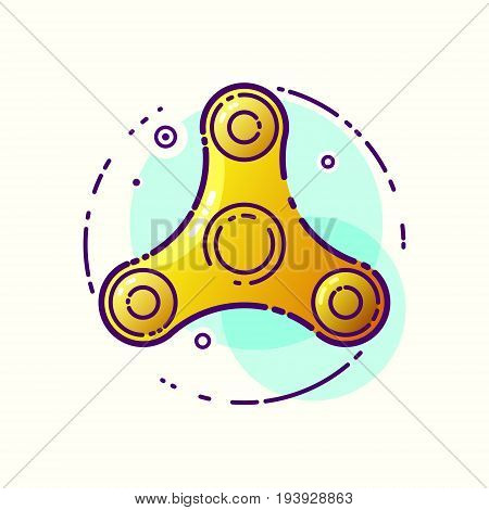 Vector stylized image of a flying and spinning spinner a popular modern toy for children and meditation. Linear image of a high speed spinning spinner.