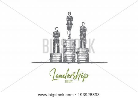 Leadership concept. Hand drawn business team leader. Success and competition isolated vector illustration.