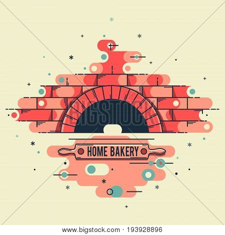 Vector stylized linear image of the oven wood burning stoves for logo restaurants websites and advertising. A brick oven with a rolling pin for dough and a name a place for advertising.