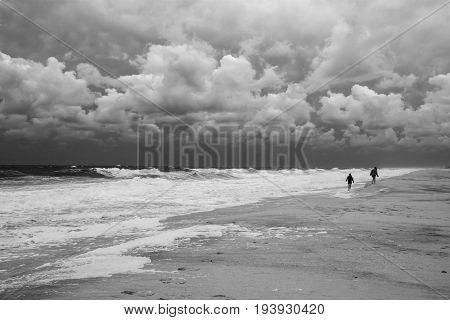 Stormy seas and dramatic sky along the coastline near Seaside Park New Jersey.