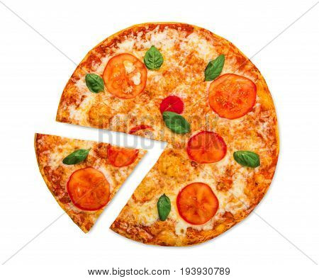 Margherita pizza slice with tomatoes and mozarella isolated on white background, top view