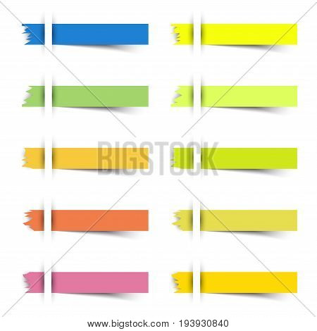 10 Colorful Blank Torn Edge Rectangles Sticky Notes. They Are Inserted To A White Paper With Shadow Beneath The Sheets. Useful For Business Memorandum Education And Other Notifications On A Board.