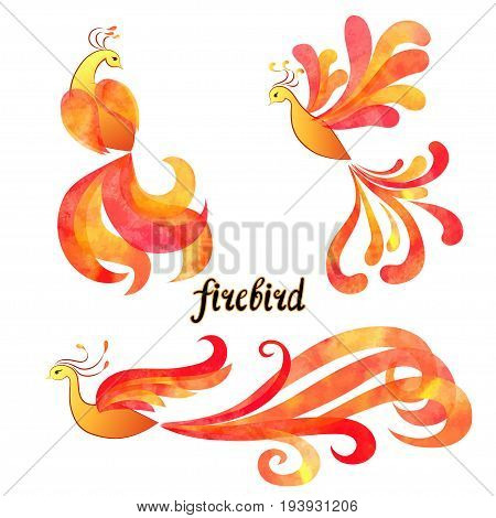Mythical Firebird set. Flaming Phoenix symbols isolated on white background. Vector illustration.