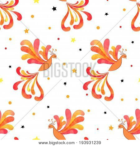 Seamless Firebird pattern. Vector background with flying flaming Phoenix.