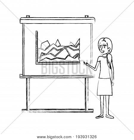 monochrome blurred silhouette of businesswoman with ponytail hairstyle making presentation vector illustration