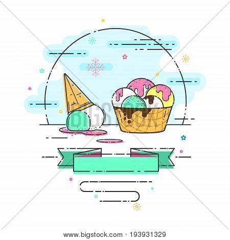 Illustration with ice cream in a waffle cup. Ice cream balls covered with chocolate icing and jam. Place for the inscription on the tape.