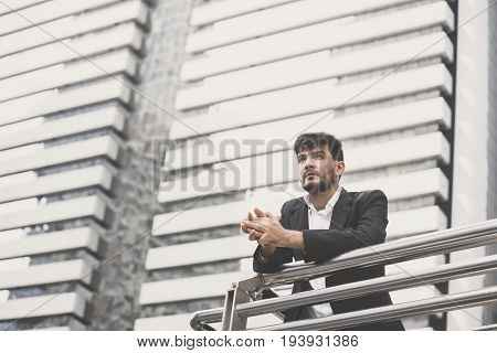 Businessman Stand And Looking For The Future At City, Man Leader Concept, 20-30 Year Old, Vintage To