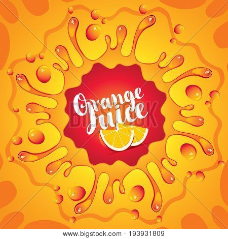 Vector banner with inscription orange juice orange slices drops and splashes juice on orange background