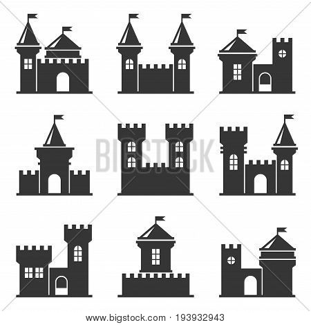 Castle Icon Set on White Background. Vector