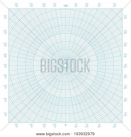 Blue vector polar coordinate circular grid graph paper background graduated every 1 degree