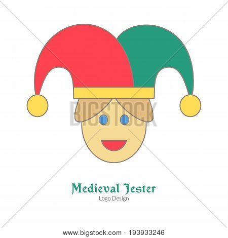 Medieval jester buffoon juggler. Single logo flat and thin line style isolated on white background. Colorful medieval theme symbol. Simple medieval pictogram logotype template. Vector illustration
