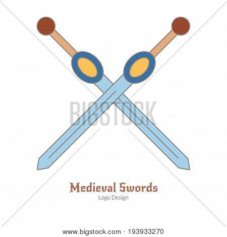 Medieval crossed swords. Logo of weapons modern flat thin line style isolated on white background. Colorful medieval theme symbol. Simple medieval pictogram logotype template. Vector illustration.