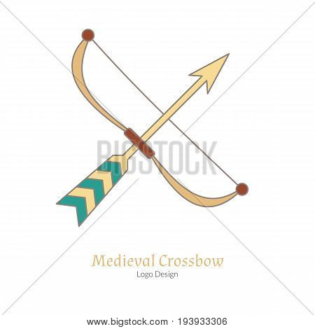 Medieval crossbow arbalest. Single logo in modern flat thin line style isolated on white background. Colorful medieval theme symbol. Simple medieval pictogram logotype template. Vector illustration
