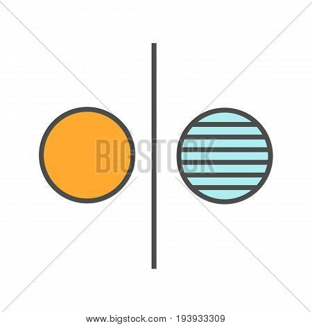Opposite symbol color icon. Opponents abstract metaphor. Isolated vector illustration