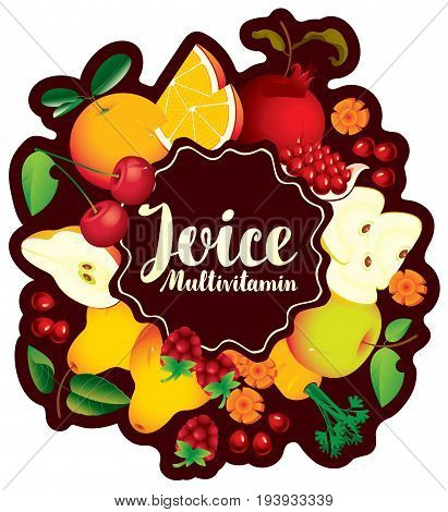Vector emblem for multivitamin juice with inscription and various fruits berries and vegetables arranged in a circle