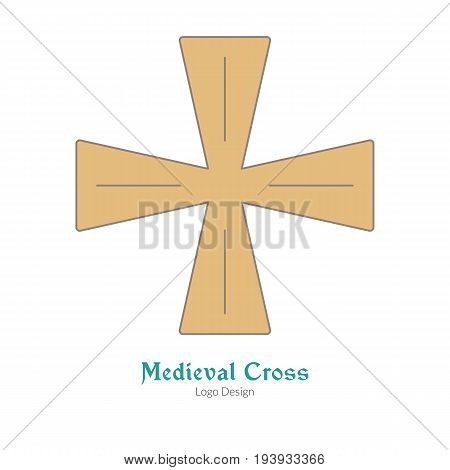 Medieval knight cross insignia symbol. Single logoflat thin line style isolated on white background. Colorful medieval theme symbol. Simple medieval pictogram logotype template. Vector illustration
