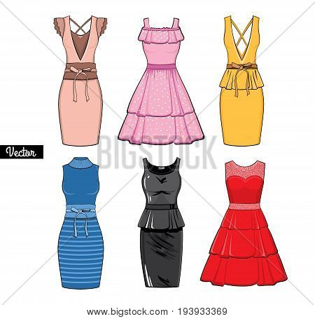 The composition of Different styles of colored summer dresses.Silhouette of dresses made in modern flat vector style. Fashion vector Illustration