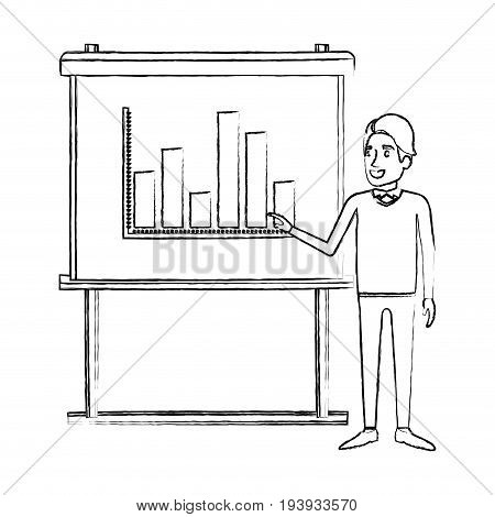 monochrome blurred silhouette of businessman in formal clothes with hairstyle side fringe making presentation vector illustration