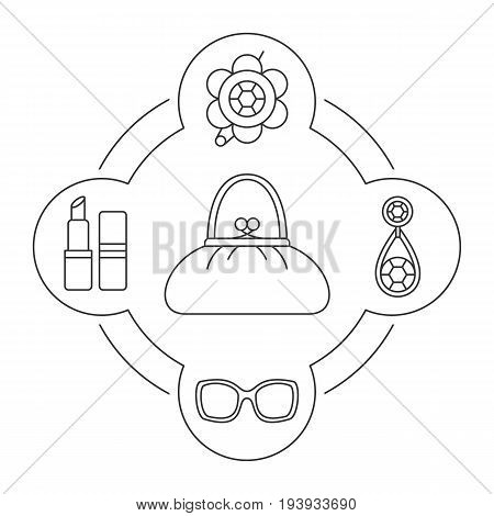 Woman's purse contents linear icons set. Brooch, earring, sunglasses, lipstick. Isolated vector illustrations