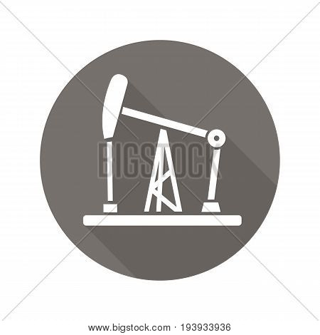 Oil derrick flat design long shadow glyph icon. Oil pump jack. Vector silhouette illustration